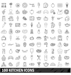 100 kitchen icons set outline style vector