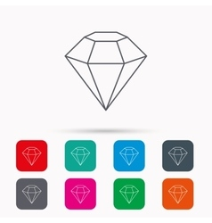 Diamond icon brilliant gemstone sign vector