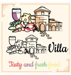 Villa tasty-and-fresh-food vector
