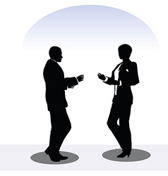 Man and woman silhouette in meeting pose vector
