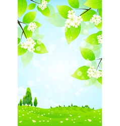 Green landscape with flowers vector