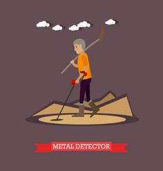 Metal detector concept in flat vector