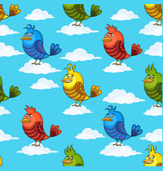 funny birds on clouds seamless vector image
