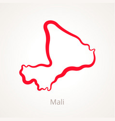 Outline map of mali marked with red line vector