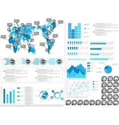 Infographic demographics blue 2 vector