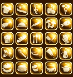 Square highgloss food icons vector