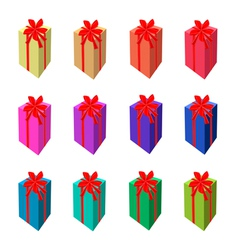 Set of tall gift box with red ribbon vector