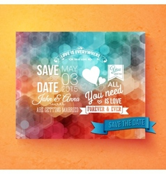 Wedding invitation template with save the date vector