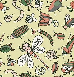 Cute cartoon insect pattern summer concept texture vector