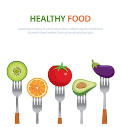 Healthy food on the forks diet concept vector