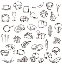 Food sketches of icons set vector image