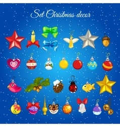 Great set of toys for christmas decorations vector