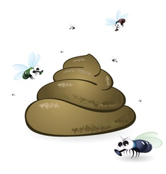Cartoon feces and flies vector