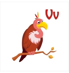 Vulture funny alphabet animal vector