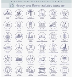 Heavy and power industry outline icon set vector
