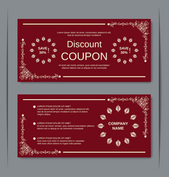 Discount coupon vintage design template vector