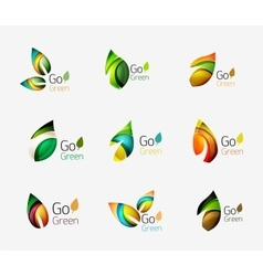 Glossy colorful leaf icon set vector