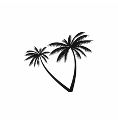 Two coconut palm trees icon simple style vector