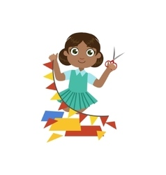 Girl making a triangle garland vector