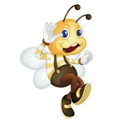 Bee waving vector