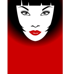woman with red lips and bob hairstyle vector image