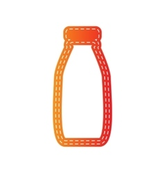 Milk bottle sign orange applique isolated vector