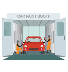 Auto mechanic worker painting new car at car vector