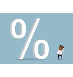 Black businessman with huge credit percents vector image vector image