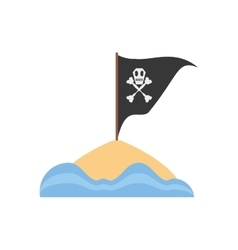 black pirate flag with skull bone sand sea vector image