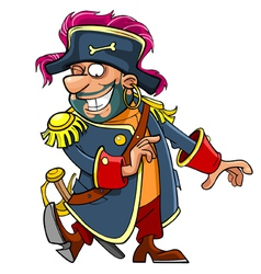 cartoon funny pirate dancing vector image