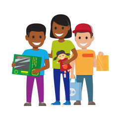 cartoon set of smiling family who goes shopping vector image vector image