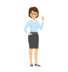 cartoon smiling businesswoman at the table vector image