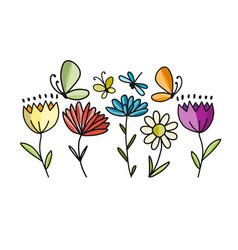 flowers and butterflies sketch for your design vector image
