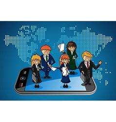 Global map smart phone business people app vector image vector image