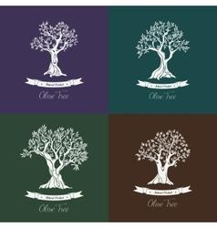 Greek oil olive trees set for olive grove vector