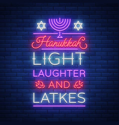 happy hanukkah a greeting card in a neon style vector image vector image