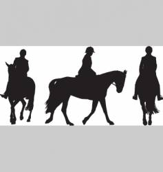 Horse and rider silhouettes vector