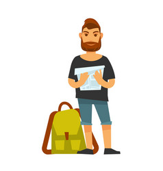 man standing near travelling backpack and holds vector image