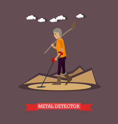 Metal detector concept in flat vector