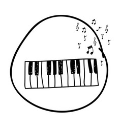 monochrome hand drawing of piano keyboard in vector image