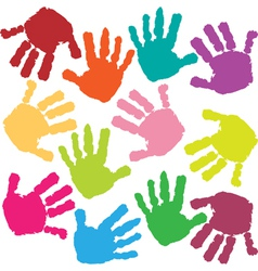 prints of hands of the child vector image vector image