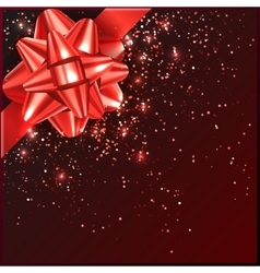 Red Christmas Bow with confetti on gift box vector image