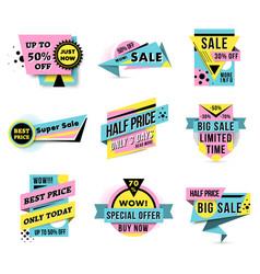 sale and super offer sticker set vector image vector image