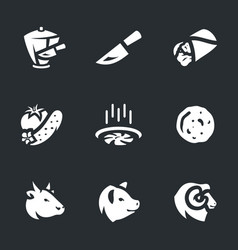 set of shawarma icons vector image vector image