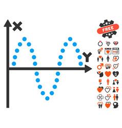 Sinusoid plot icon with love bonus vector