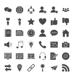 Social media solid web icons vector