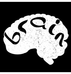 text with hand drawn brain vector image vector image