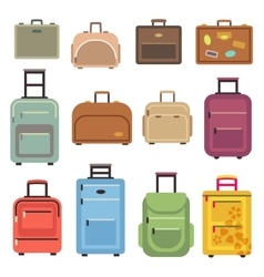 Travel luggage bag suitcase flat icons vector image vector image