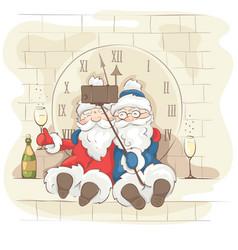 Two cheerful santa claus vector