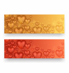 valentine day banners with hearts vector image